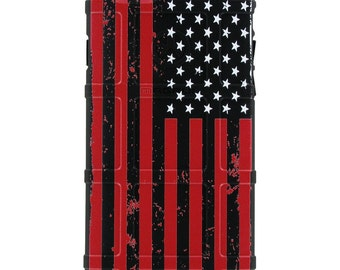CUSTOM PRINTED Limited Edition - Authentic Made in U.S.A. Magpul Industries Field Case US Flag Red Print on Black Case