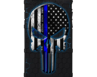 CUSTOM PRINTED Limited Edition - Authentic Made in U.S.A. Magpul Field Case, Serve Honor Protect - Thin Blue Line Punisher on HEX Background