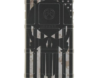 Custom Printed Limited Edition - Authentic Made in U.S.A. Magpul Industries Field or Bump Case, Punisher US Subdued Flag, Desert MARPAT Camo
