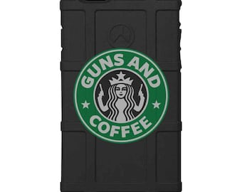 CUSTOM PRINTED Limited Edition - Authentic Made in U.S.A. Magpul Industries Field Case, Guns & Coffee