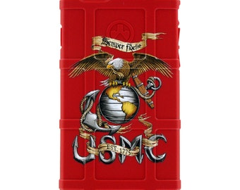 CUSTOM PRINTED Limited Edition -  U.S. Marine Corps EGA Semper Fi Logo on Red (usmc5)