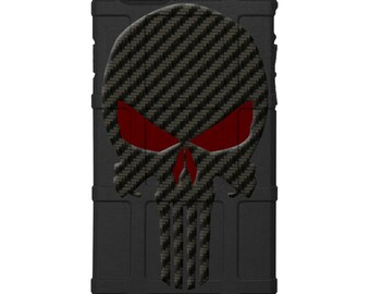 CUSTOM PRINTED Limited Edition - Authentic Made in U.S.A. Magpul Industries Field or Bump Case, Carbon Fiber Punisher Blood Red Eyes (bpc)