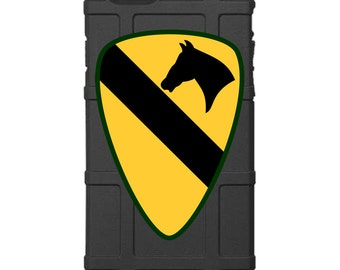 "CUSTOM PRINTED Limited Edition - Authentic Made in U.S.A. Magpul Industries Field Case, US Army 1st Cavalry Division Patch ""1st Team"""