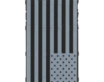 CUSTOM PRINTED Limited Edition - Authentic Made in U.S.A. Magpul Industries Field Case, U.S. Flag Subdued Reversed, White Print