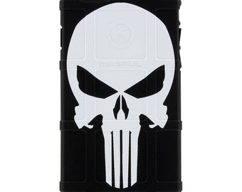 CUSTOM PRINTED Limited Edition - Authentic Made in U.S.A. Magpul Industries Field or Bump Case, White Punisher
