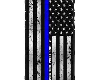 CUSTOM PRINTED Limited Edition - Authentic Made in U.S.A. Magpul Industries Field Case, SAPD31 One Team One Mission US Flag Thin Blue Line