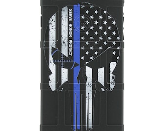 CUSTOM PRINTED Limited Edition - Authentic Made in U.S.A. Magpul Field Case, Serve Honor Protect Punisher- Subdued US Flag Thin Blue Line