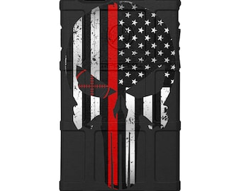 CUSTOM PRINTED Limited Edition Authentic Made in U.S.A. Magpul Field Case, Fireman, 1st Responder Subdued US Flag Thin Red Line Punisher bpf