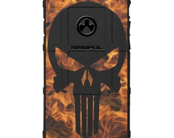 CUSTOM PRINTED Limited Edition - Authentic Made in U.S.A. Magpul Industries Field Case, Black Punisher on Fire