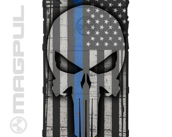 Custom Printed Limited Edition - Authentic Made in U.S.A. Ghost Punisher on Thin Blue, Thin Red, Thin Green or Thin Yellow Line Flags