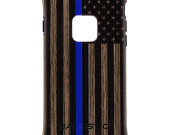 CUSTOM PRINTED Limited Edition - Ballistic Urbanite Select Phone Case, US Flag Subdued Black Print Thin Blue Line on Dark or Light Ash Wood