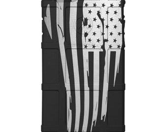 CUSTOM PRINTED Limited Edition - Authentic Made in U.S.A. Magpul Industries Field Case, Tattered US Flag on Black (usflag)