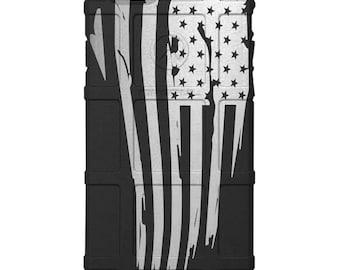 CUSTOM PRINTED Limited Edition -  Tattered US Flag on Black (usflag)