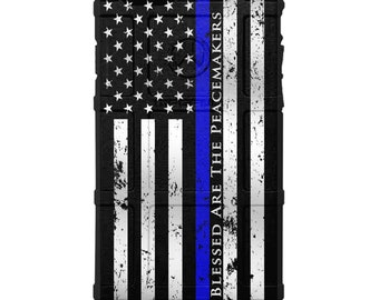 Custom UV Printed Limited Edition Authentic Made in U.S.A. Magpul Field, UAG or Pelican Blessed are the Peacemakers Thin Blue Line Reversed