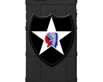 "CUSTOM PRINTED Limited Edition - Authentic Made in U.S.A. Magpul Industries Field Case, US Army 2nd Infantry Division Patch ""Indianhead"""