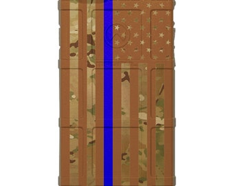 CUSTOM PRINTED Limited Edition -  US Flag Gold Subdued Thin Blue Line, Police (mcsogp)