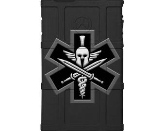 CUSTOM PRINTED Limited Edition - Authentic Made in U.S.A. Magpul Industries Field Case, Spartan Medic Military Punisher Patch on Camouflage