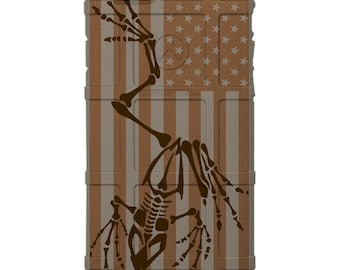 CUSTOM PRINTED Limited Edition - Magpul Industries Field or Bump Case, US Flag Subdued Gold under Bonefrog, U.S. Navy Seals -fsg-bonefrog