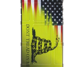 CUSTOM PRINTED Limited Edition - Authentic Made in U.S.A. Magpul Industries Field Case, Don't Tread on Me / US Flag