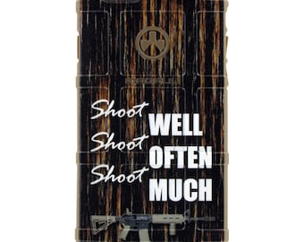 CUSTOM PRINTED Limited Edition - Authentic Made in U.S.A. Magpul Industries Field Case, Shoot Well, Shoot Often, Shoot Much Aged Wood Finish
