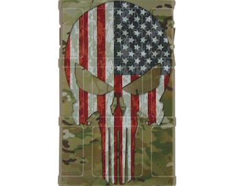 Custom Printed Limited Edition - Multicam OCP / Scorpion Camouflage, Color US Flag Punisher
