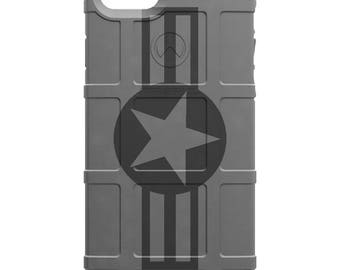 CUSTOM PRINTED Limited Edition - Authentic Made in U.S.A. Magpul Industries Field Case, Air Force Stars and Bars Subdued White or Grey
