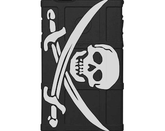 CUSTOM PRINTED Limited Edition - Authentic Made in U.S.A. Magpul Industries Field or Bump Case, Jolly Roger Pirate Flag