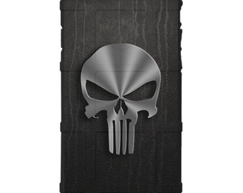 CUSTOM PRINTED Limited Edition - Authentic Made in U.S.A. Magpul Industries Field Case, Brushed Metal Punisher, Dripping Black Leather -bmpl