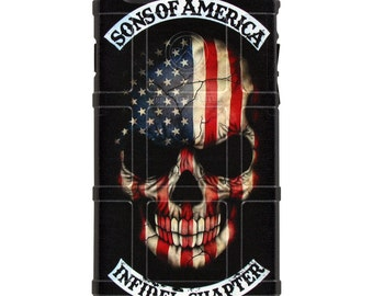 Custom Printed Limited Edition - Authentic Made in U.S.A. Magpul Industries Field Case, US Flag Skull, Sons of America Infidel Chapter SOA