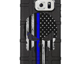 CUSTOM PRINTED Limited Edition - Authentic Made in U.S.A. Magpul Industries Field Case, Subdued American Flag Punisher, Thin Blue Line (gpp)