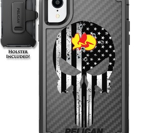 CUSTOM PRINTED Limited Edition Pelican Shield Kevlar Carbon Fiber Case with Holster - US Flag Subdued Headshot Harry Punisher Design