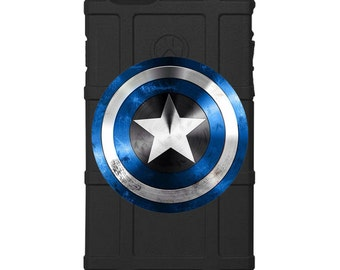 CUSTOM PRINTED Limited Edition - Authentic Made in U.S.A. Magpul Industries Field Case, Blue Captain America Shield, Police, Thin Blue Line