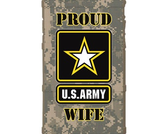 CUSTOM PRINTED Limited Edition - Authentic Made in U.S.A. Magpul Industries Field Case, Proud U.S. Army Wife Logo on ACU