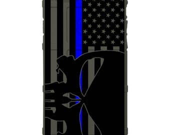 CUSTOM PRINTED Limited Edition - Authentic Made in U.S.A. Magpul Industries Case, US Flag Subdued Thin Blue Line Punisher, Police -usppns