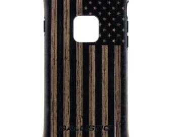CUSTOM PRINTED Limited Edition - Ballistic Urbanite Select Mil Spec Phone Case, US Flag Subdued Black Print on Dark or Light Ash Wood