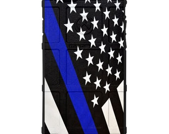CUSTOM PRINTED Limited Edition - Black Subdued U.S. Flag Thin Blue / Red Line Police & Fire