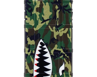 CUSTOM PRINTED Limited Edition - Authentic Made in U.S.A. Magpul Industries Field Case, ERDL U.S. Woodlands Camouflage, Shark Teeth