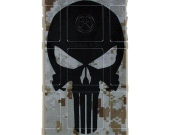CUSTOM PRINTED Limited Edition - Authentic Made in U.S.A. Magpul Industries Field or Bump Case, Punisher on Desert Digital Camouflage