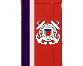 CUSTOM PRINTED Limited Edition - Authentic Made in U.S.A. Magpul Industries Field or Bump Case, U.S. Coast Guard Flag on Red Case