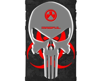 CUSTOM PRINTED Limited Edition - Authentic Made in U.S.A. Magpul Industries Field Case, Black Digi Camo, Hazmat Punisher
