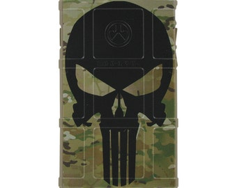 Custom Printed Limited Edition - Authentic Made in U.S.A. Magpul Industries Field Case, Multicam / Scorpion Camouflage, Black Punisher