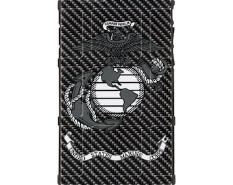 CUSTOM PRINTED Limited Edition - Authentic Made in U.S.A. Magpul Industries Field or Bump Case, Subdued USMC on Black Carbon Fiber