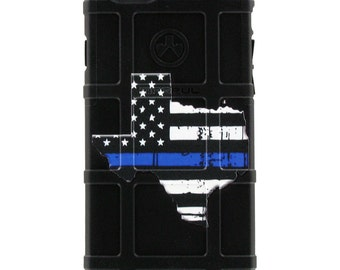 CUSTOM PRINTED Limited Edition - Authentic Made in U.S.A. Magpul Industries Field Case, Blue Lives Matter, Texas Thin Blue Line, Police