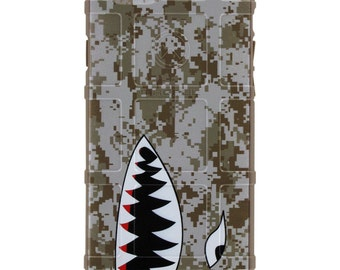 CUSTOM PRINTED Limited Edition - Authentic Made in U.S.A. Magpul Industries Field Case, MARPAT Desert Digital Camouflage, Shark Teeth