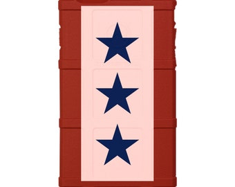 Custom Printed Limited Edition - Authentic Made in U.S.A. Magpul Industries Field Case, US Military Service Flag on Red Case, 1, 2 3 Stars