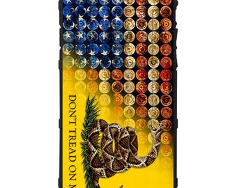CUSTOM PRINTED Limited Edition 4th of July American Freedom Bullets, Shotgun Shells Don't Tread on Me Gadsden Flag Case