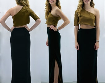 Gold Crop Top and Black Maxi Skirt