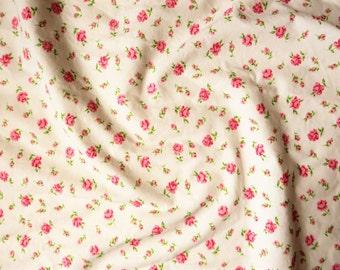 "Vintage pink rosebud cotton fabric reclaimed,  49.5 x 56"" (1)"