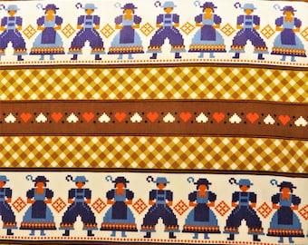 "Vintage 1970's folk art cotton fabric reclaimed,  46 x 47"" (2)"