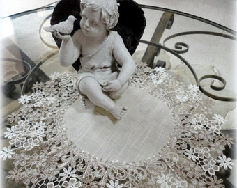 """16"""" Large Lace Doily Table Topper Delicate Floral Neutral Colors Victorian"""